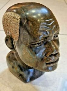 Fine Antique African Man Head Carving Statue Sculpture in brown Marble Stone