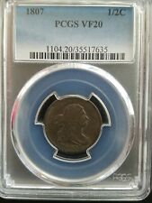 1807 Draped Bust Half Cent * PCGS VF20 * Great  planchet and color *