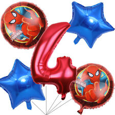 Spiderman Balloons Bouquet 4th Birthday 5 pcs - Party Supplies Decoration