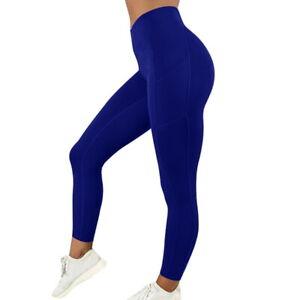 Women High Waist Gym Leggings Pocket Fitness Sports Running Train Yoga Pants US