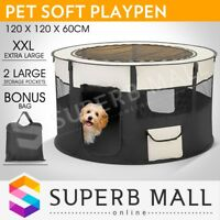 Portable Soft Dog Pet Playpen Cat Puppy Play Round Crate Cage Tent Travel XXL