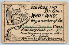 Vintage Postcard Invitation to Children's Class Owl Be Wise D3