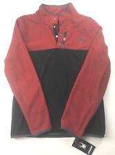 $130 Spyder Mens Size Medium Fleece Button Pullover Sweater Red Black New