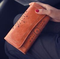 Women's Hollow Out Genuine Leather Clutch Long Wallet Card Phone Holder Purse