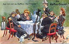 Die Kaffee-Steuer, Scherz-AK, sign. Arthur Thiele