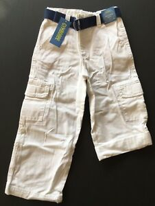 NWT Gymboree Frog Pond 5 5T White Roll Up Cuff Belted Cargo Pants