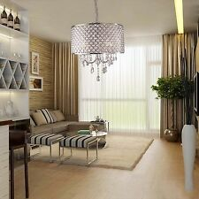 Fashion Drum Fixture Ceiling 4 Light Lighting Crystal Pendant Chandelier Lamp US