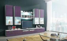 Wohnwand Anbauwand Wohnzimmer Schrankwand Hochglanz AURA II LED Weiß  Schwarz 07