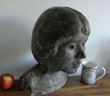ANTIQUE HEAD BUST MAIDEN GIRL LADY STATUE STONE 19TH CENTURY ART