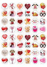 48 MINI VALENTINE CUPCAKE TOPPER WAFER RICE EDIBLE FAIRY CAKE  TOPPER