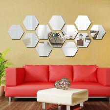 12Pcs 3D Mirror Hexagon Vinyl Removable Wall Sticker Decal Home Decor Art  DIYRTT