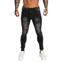 GINGTTO Mens Jeans Ripped Skinny Fit Super Stretch Biker Distressed Denim Pants