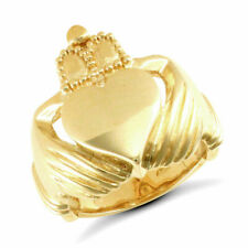 Gents 9ct Gold Claddagh Mens Ring - 18 GRAMS - UK Jewellers