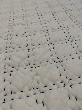John Robshaw Textiles Lila Stitched QUEEN Printed Cotton Quilt White / Indigo