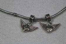 2 X Dangle Aspect D'Argent Perle European Bead Métal Bracelet en Module de Cœur