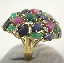 Echte Diamanten-Ringe aus Gelbgold mit Smaragd für Damen