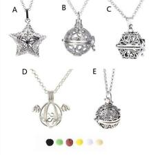 Aromatherapy Essential Oil Diffuser Locket Pendant Necklace with Lava Stone