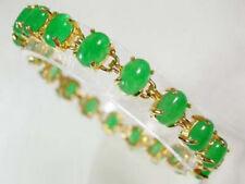 Green Jade Beads 18KGP Link Clasp Bangle Bracelet AAA+