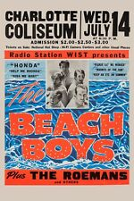 Surf: The Beach Boys at Charlotte Nc. Concert Poster 1965 12x18