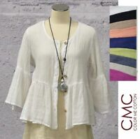 CMC by CLICK USA 8742 Linen Mesh BABY DOLL Ruffle CARDI Top  S-XXL 2018 SPRING