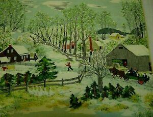 Vtg 50s Barkcloth Fabric Cotton Grandma Moses Snow Barn Kids Wagon Like Xmas