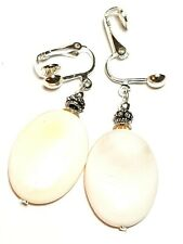 Silver Mother of Pearl Shell Clip On Earrings Antique Vintage Style