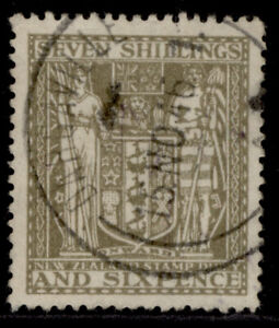 NEW ZEALAND GVI SG F198, 7s 6d olive-grey, FINE USED. Cat £100.