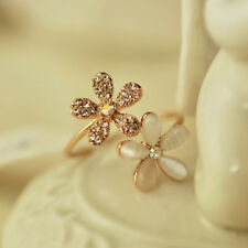 Lindo Anillo Flor para Mujer Chica Retro Cristal Flor Anillos Joyería Rosa