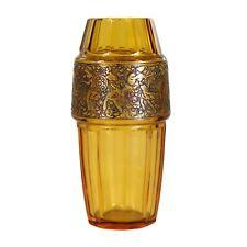 Vase aus topasfarbenem Glas, Serie Fipop, signiert Moser Karlsbad um 1920