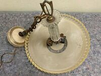 Early Vintage Hanging Ceiling Light Fixture With Glass Shade