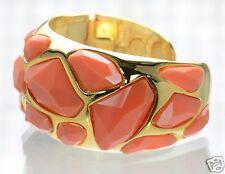 Kenneth J Lane KJL Polished Gold and Coral Enamel Cuff Bracelet