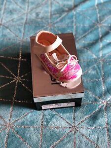 Kelsi Girls Pink Sequin Infants Dolly Shoes