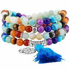 108 Prayer Beads Stone Mala Bracelet Tibetan Buddhist 7 Chakra & Amazonite-6mm