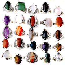 80/100Pcs Wholesale Bulk Ring Natural Stone Silver Plated Band Rings Jewelry Lot