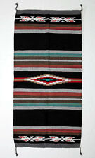 "#4215 Hawkeye Woven Rug Blanket Navajo 100% Recycled Cotton Fiber Black 32""x64"""