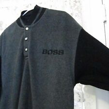 Vintage Hugo Boss Fleece Sweatshirt Black Gray Pullover Mens Size Medium Shirt