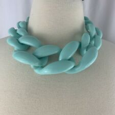 Massive Big Plastic Link Chain Necklace Runway Style Statement Bold Large Blue