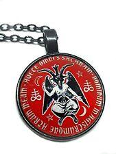 """Baphomet Moon Star Cabochon Pendant Necklace 20"""" Black Chain Devil Church Satan"""
