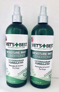 (2) Vet's Best Moisture Mist Conditioner For Dogs, 16 fl oz Each.