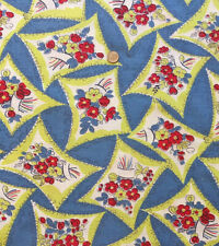 Vintage Partial Feed Sack Floral on Blue w/Charteuse Accents  24
