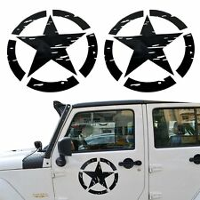 2X 41x41cm Black US Distressed Star Military Jeep Vinyl SUV Decal offroad 4X4
