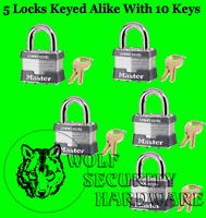 Lot of 5 Master Lock Padlocks #1 KA KEYED ALIKE W/10 Keys 5/16 Shackle Diameter