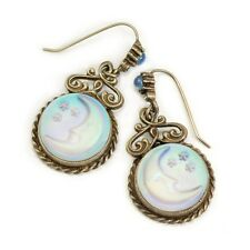 NEW SWEET ROMANCE  OPALESCENT CRESCENT MOON & STARS CARVED GLASS EARRINGS