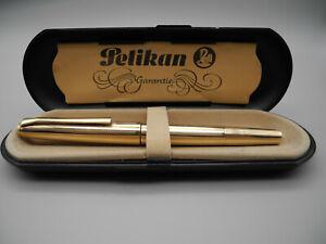 Ultra rare Pelikan M100 Füller 585 Solid Gold Fountain Pen Guilloche 60/70er Top