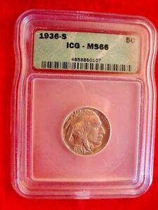 1936-S BUFFALO NICKEL IGC CERTIFIED MS--66 GREAT GEM BU COIN!  #303