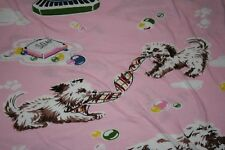 Nick & Nora Puppy Parlor Twin Fitted Sheet & Pillowcase Pink 100% Cotton Soft