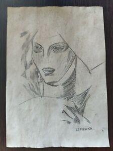 Tamara De Lempicka Painting Drawning Signed & Stamped Mixed Media on Paper