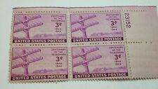 US SCOTT 924-1944 3 CENT TELEGRAPH-VIOLET-PLATE BLOCK OF 4-MINT/NEVER HINGED/OG