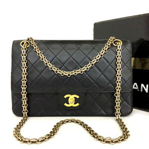 Vintage CHANEL Double Flap 25 Quilted CC Logo Lambskin Chain Shoulder Bag /70795
