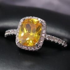 2 Ct Yellow Citrine Halo Engagement Ring Women Jewelry White Gold Plated Size 6